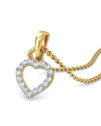 Diamoire Jewels - Metallic White Round Cut Swarovski Zirconia Heart Pendant In 10kt Yellow Gold - Lyst