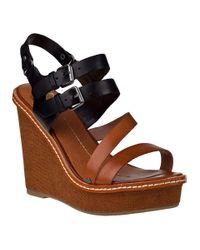 Dolce Vita | Jobin Wedge Sandal Black/cognac Leather | Lyst
