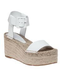Vince | Abby White Leather Platform Sandal | Lyst