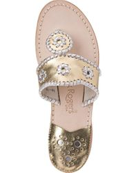 Jack Rogers - Metallic Thong Sandal Silver/gold Leather - Lyst