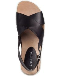 275 Central | W395 Footbed Sandal Black Leather | Lyst