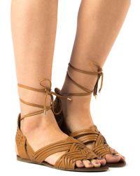 J/Slides - Brown Hipster Tan Leather Lace Up Sandal - Lyst