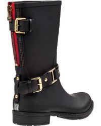 Colors Of California - Biker Zip Rain Boot Black Rubber - Lyst