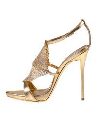 Giuseppe Zanotti - Metallic Crystal Mesh Evening Sandal Gold Leather - Lyst