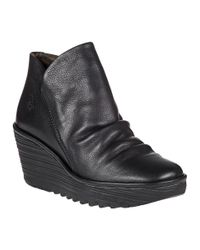 Fly London - Black Yip Leather Wedge Boots - Lyst