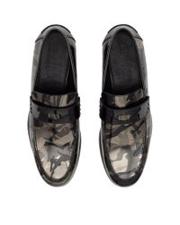 Jimmy Choo - Darblay Black And Gunmetal Camouflage Mirror Leather Loafers for Men - Lyst