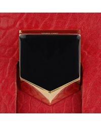 Jimmy Choo - Lockett/m Red Grainy Leather And Snow Leopard Print Pony Handbag - Lyst