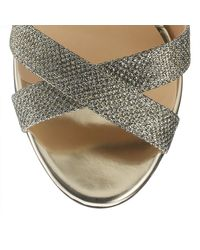 Jimmy Choo | Gray Metallic Rhinestone Sandal | Lyst