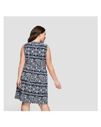 Joe Fresh - Blue Women+ Print Sleeveless Dress - Lyst