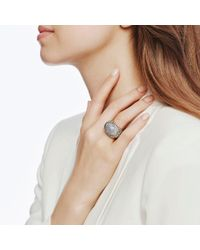 John Hardy   White Dome Ring With Diamonds   Lyst