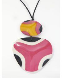 One Button - Multicolor Long Double Pendant Cord Necklace - Lyst