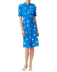 L.K.Bennett - Blue Pernila Spot Print Silk Dress - Lyst