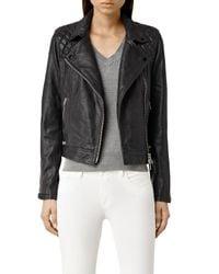 AllSaints | Blue Conroy Leather Biker Jacket | Lyst