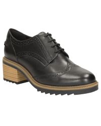 Clarks - Black Balmer Bella Block Heeled Brogues - Lyst