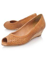 Carvela Kurt Geiger | Brown Sahara Peep Toe Wedge Heeled Sandals | Lyst