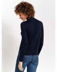 Oasis | Blue Navy Check Funnel Neck Jumper | Lyst