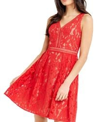 Oasis - Red Lace V-neck Skater Dress - Lyst