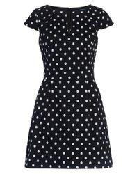 French Connection | Black Dotty Spot Cotton Dress | Lyst