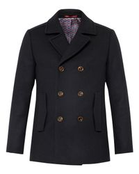 Ted Baker | Blue Biza Wool-blend Peacoat for Men | Lyst