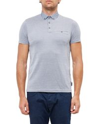 Ted Baker | Blue Super Geo Print Collar Polo Shirt for Men | Lyst