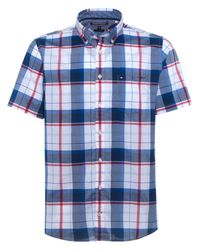Tommy Hilfiger   Blue Sid Short Sleeve Check Cotton Shirt for Men   Lyst