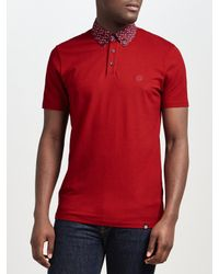 3bda0917f0f Lyst - Pretty Green Rindle Floral Print Collar Polo Shirt in Red for Men