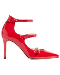 Karen Millen - Red Mary Jane Triple Strap Court Shoes - Lyst