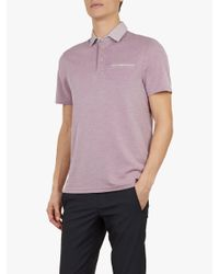 4f17daeca63a Ted Baker Doller Woven Collar Polo Shirt in Pink for Men - Lyst