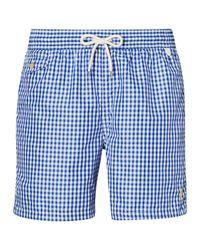 Polo Ralph Lauren | Blue Gingham Traveler Swim Shorts for Men | Lyst