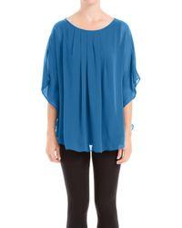 Max Studio   Blue Angel Sleeve Pleated Blouse   Lyst