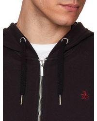 Original Penguin - Black Raised Rib Pique Hooded Sweatshirt for Men - Lyst