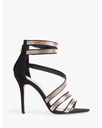 Karen Millen - Black Strappy Stiletto Heel Sandals - Lyst
