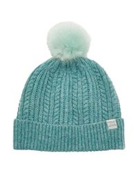 Joules | Blue Bobble Lambswool Blend Bobble Hat | Lyst
