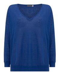 dd0116cfdf3 Lyst - John Lewis Mint Velvet Linen V-neck Boxy Jumper in Blue