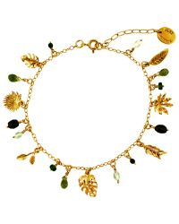 Alex Monroe | Metallic Tropical Leaf Charm Bracelet | Lyst