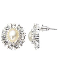 John Lewis | Metallic Faux Pearl And Cubic Zirconia Large Stud Earrings | Lyst