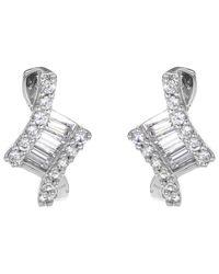 Ib&b   Metallic 9ct White Gold Cubic Zirconia Stud Earrings   Lyst
