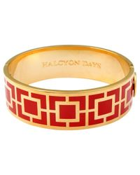 Halcyon Days | Red 18ct Gold Plated Maya Bangle | Lyst