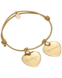 Merci Maman - Metallic 18ct Gold Plated Personalised Two Heart Bracelet - Lyst