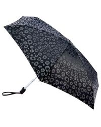 Fulton | Black Tiny Luxury Leopard Folding Umbrella | Lyst