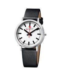 Mondaine   Metallic Unisex Stop 2 Go Leather Strap Watch   Lyst