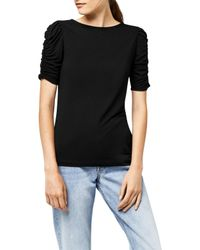 Warehouse - Black Ruched Sleeve Top - Lyst