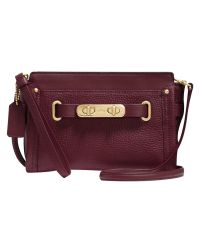 COACH   Purple Swagger Leather Wristlet   Lyst