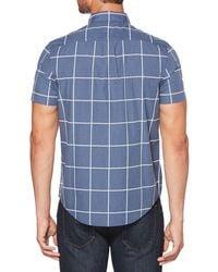 Original Penguin Blue Short Sleeve Wide Check Shirt for men
