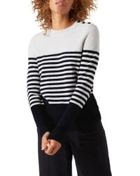 Jigsaw - Blue Block Stripe Breton Jumper - Lyst