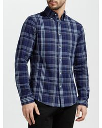 Gant - Blue Check Long Sleeve Shirt for Men - Lyst