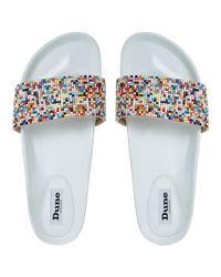 Dune - White Loveheart Beaded Slider Sandals - Lyst