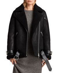 AllSaints - Black Hawley Oversized Shearling Jacket - Lyst