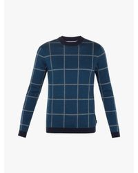 Ted Baker - Blue Legit Check Jumper for Men - Lyst