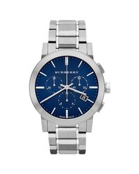 Burberry | Metallic Brushed Stainless Steel Chronograph Watch for Men | Lyst